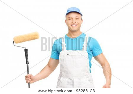 Male house painter holding a paint roller isolated on white background