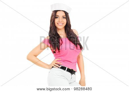 Fashionable woman with a sailor hat isolated on white background