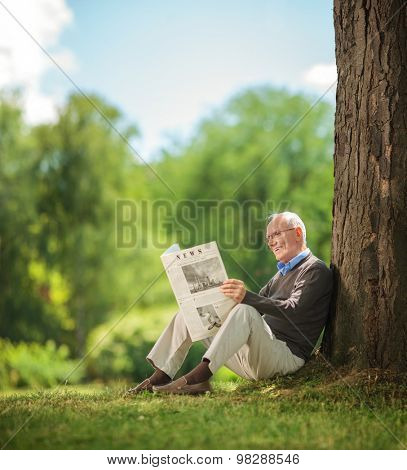 Relaxed senior gentleman reading a newspaper seated on the grass in a park.The newspaper is custom made, text is Latin and the pictures are my copyright. Additionally property release uploaded.
