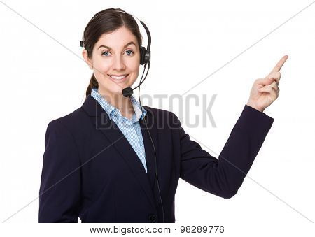 Call center consultant with finger point up