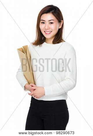 Woman hold with folder board