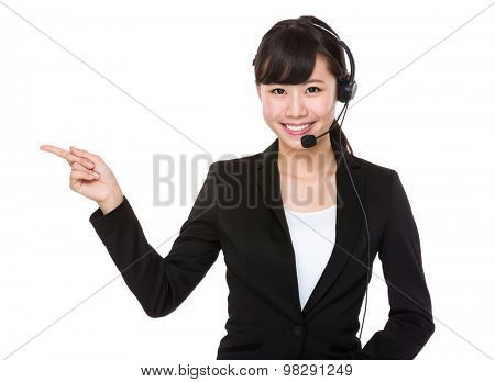 Call center operator with finger point up