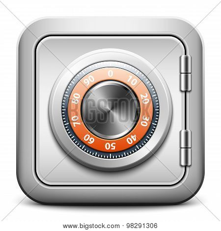 Metal Safe Icon With Combination Lock On White Background, Vector