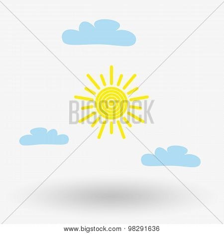 Sun and cloud weather web icon.