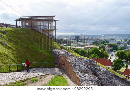 Funicular On Castle Hill (mount Gediminas) On  Background Of Old Town, Vilnius
