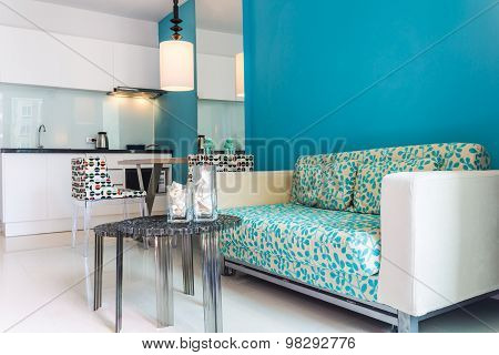 Modern Living Room and Kitchen room Interior.