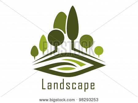 Park landscape icon with alleys and lawn