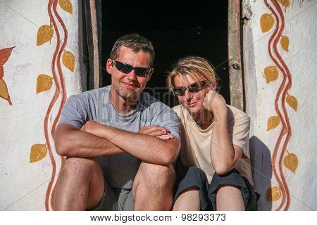 Couple in a doorway