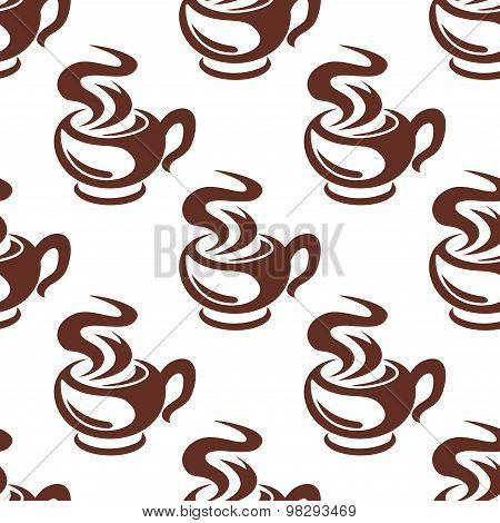 Steaming coffee cups retro seamless pattern
