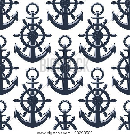 Nautical anchors and helms seamless pattern