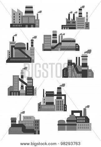 Flat plants and factories icons
