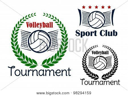 Volleyball game sport heraldic emblems