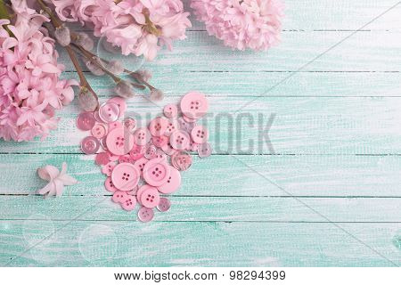 Postcard With Heart From Buttons And Hyacinths And Willow Flowers