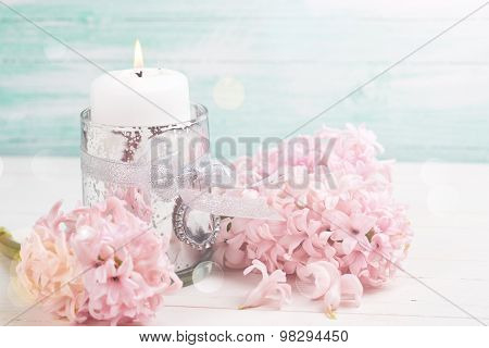 Hyacinths Flowers And Candl