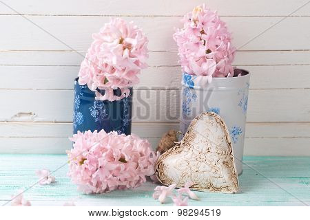 Postcard With Fresh Flowers Hyacinths And Heart