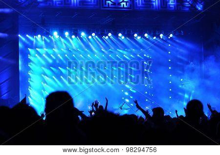 Crowd Raising Their Hands At A Concert