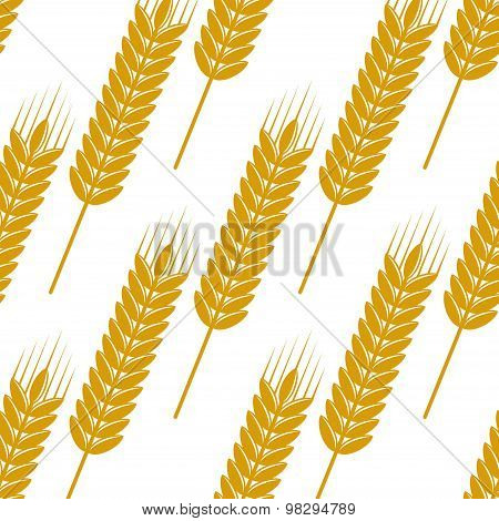 Seamless pattern of ears with ripe grains