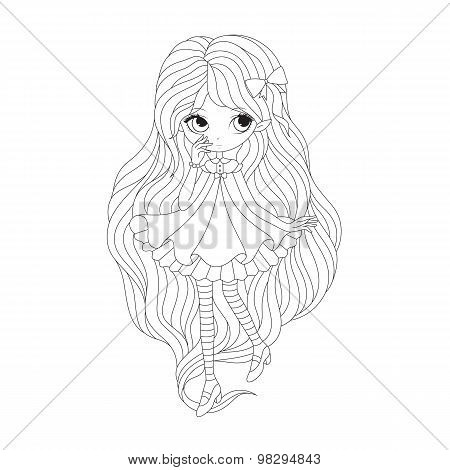 Coloring  book page - girl elf