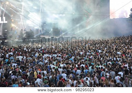 Crowd Of Partying Teens At A Festival