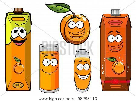 Cartoon apricot fruit, juice and glasses