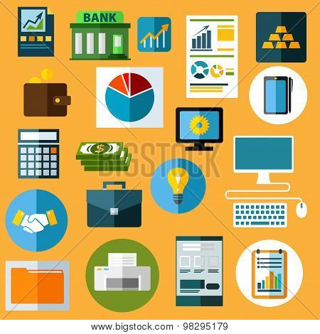 Business, finance and bank flat icons