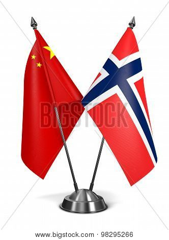 China and Norway - Miniature Flags.