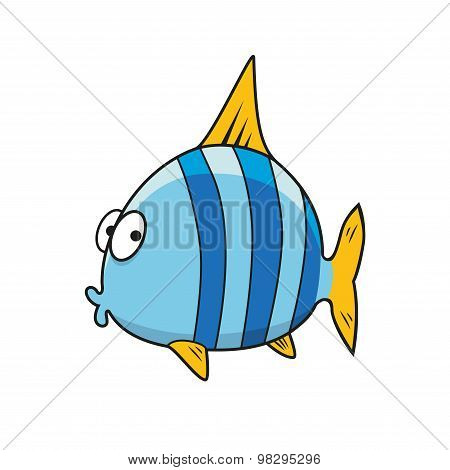 Cartoon isolated blue striped fish