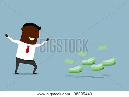 Happy cartoon businessman found money