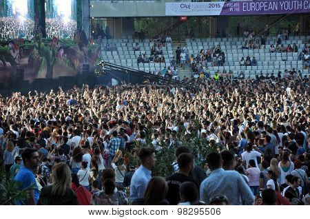 Crowd In A Stadium At A Live Concert