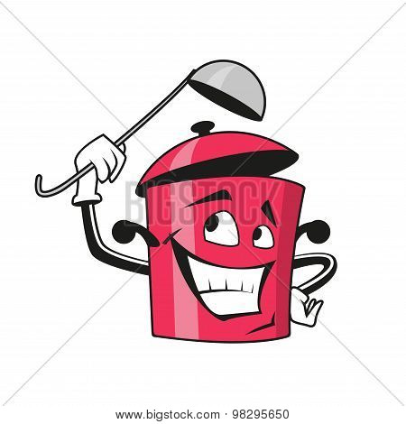 Cartoon saucepan character with ladle