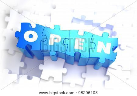 Open - Text on Blue Puzzles.