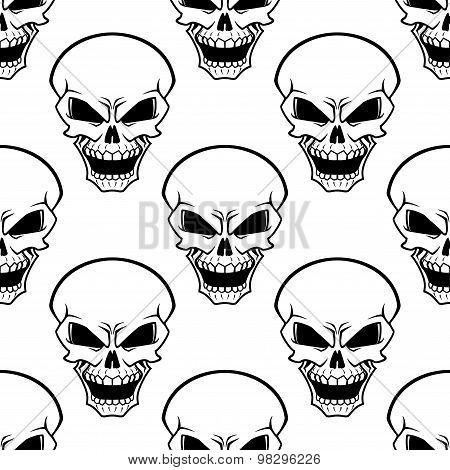 Aggressive skulls seamless pattern background