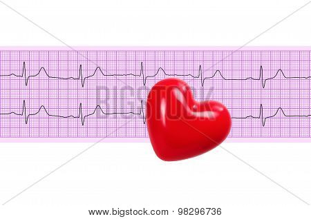 Textile Heart Over Electrocardiogram Graph On White Background