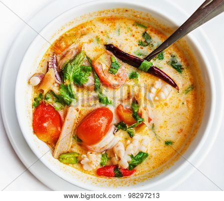 Tom yam kung or Tom yum, Tom yam is a spicy clear soup typical in Thailand