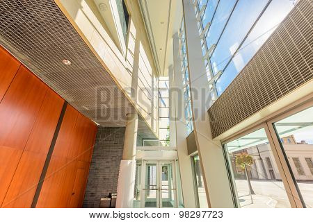 Abstract fragment of architecture of modern lobby, hallway of the luxury hotel, shopping mall, business center in Vancouver, Canada. Interior design.