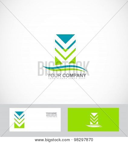 Abstract Arrow Logo Green Blue Icon