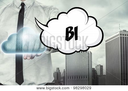 BI text on cloud computing theme with businessman