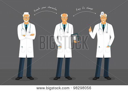 Old Doctor In Various Poses