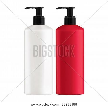Plastic Bottles Shampoo Isolated On White Background