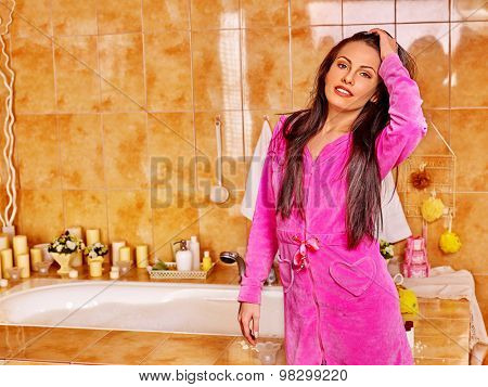 Girl relaxing at water. Women take bath