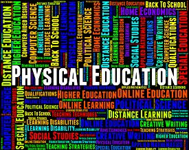 stock photo of physical education  - Physical Education Indicating Text College And Training - JPG