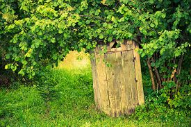 stock photo of outhouse  - Old Wooden Backyard Outhouse - JPG