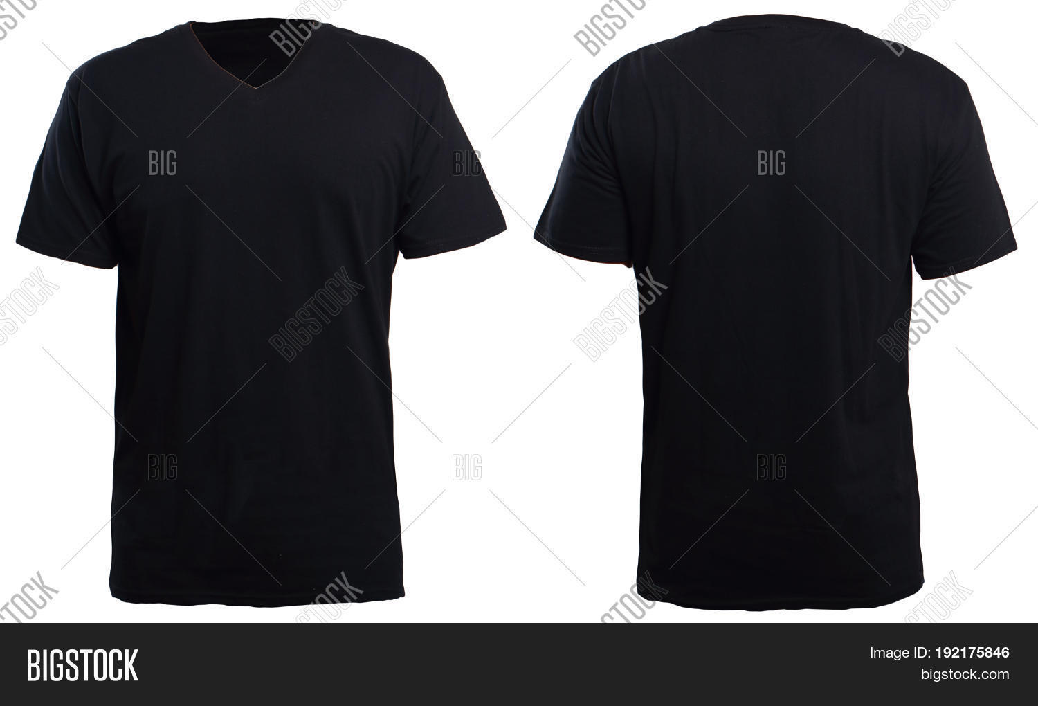Black t shirt back and front plain - Blank V Neck Shirt Mock Up Template Front And Back View Isolated On White Plain