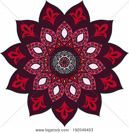 Drawing of a floral mandala in pink, red and maroon colors on a white background. Hand drawn tribal vector stock illustration
