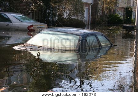 Flooded Car From Hurricane Katrina In New Orleans