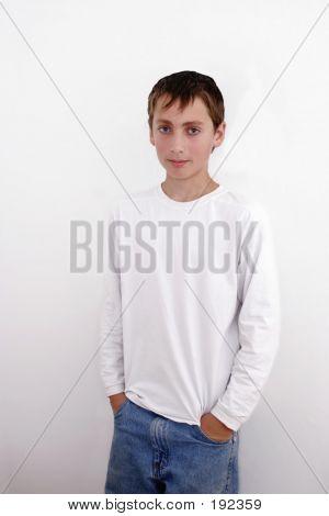 Teenage Boy On White Background