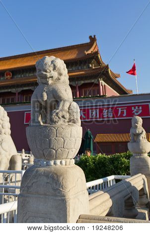 The Stone Lion In Front Of Tiananmen