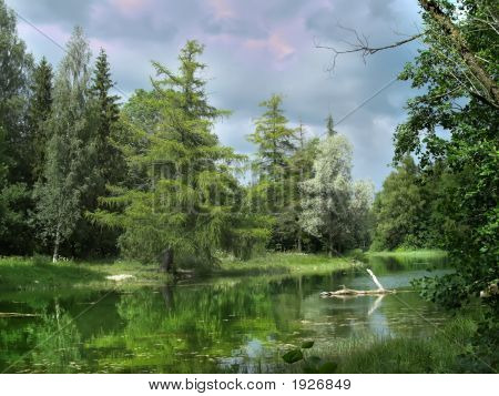 Reflections Of The Forest In The Lake