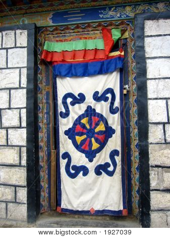 Patterned Door Curtain Of A Tibetan House, Tibet