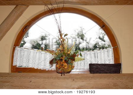 winter window in wooden house